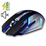 LexonElec Wireless Ergonomic Mouse X7 2.4GHz Rechargeable Silent Optical Pro Gamer Gaming Mice with USB Receiver, 7 Colors LED Backlit, 3 Adjustable DPI (800/1200/1600), 6 Buttons for PC (Black)