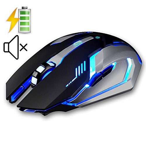 LexonElec Wireless Ergonomic Mouse X7 2.4GHz Rechargeable Silent Optical Pro Gamer Gaming Mice with USB Receiver, 7 Colors LED Backlit, 3 Adjustable DPI (800/1200/1600), 6 Buttons for PC (Black) by LexonElec®