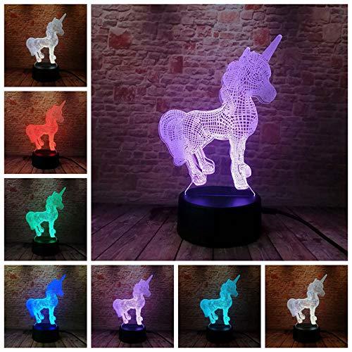 PampasSK Action & Toy Figures - Luminous Unicorn Model 3D Illusion Nightlight LED 7 Colourful Flash Light Desk Lamp Unicornio Animal Figure Unicorn Party Toys 1 PCs from PampasSK