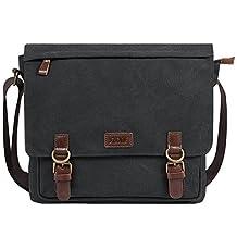 S-ZONE Vintage Canvas Messenger Bag School Shoulder Bag for 13.3-15inch Laptop Business Briefcase (Dark Gray)