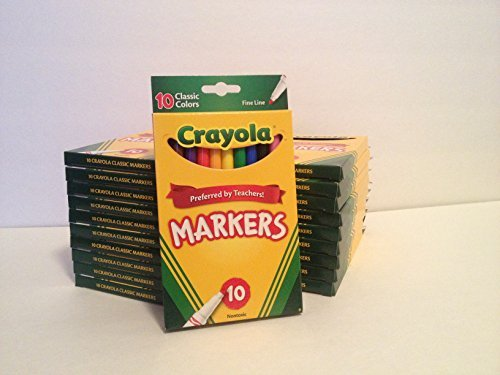(Crayola Classic Fine Line Markers, Assorted Colors 10 ea ( Pack of 20))