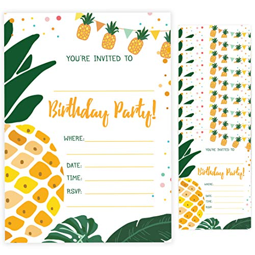 Pineapple Style 3 Happy Birthday Invitations Invite Cards (10 Count) With Envelopes Boys Girls Kids Party (10ct) (Cute Invitation Cards)