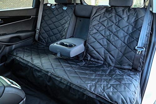Plush Paws Custom Dog Seat Cover Center Console Access, Removable Hammock - Black, Waterproof & Nonslip Silicone Backing for Cars, Trucks & ()