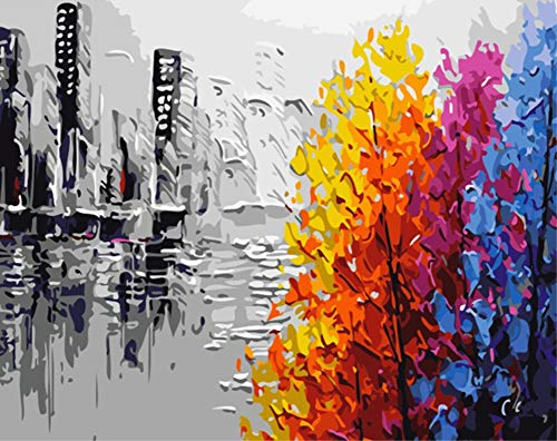 - ABEUTY DIY Paint by Numbers for Adults Beginner - Abstract City Silhouette and Colorful Tree 16x20 inches Number Painting Anti Stress Toys