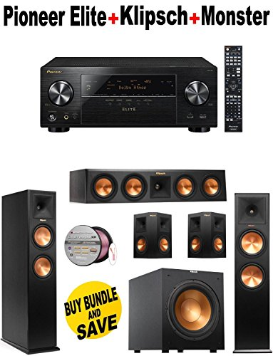 Pioneer VSX-90 7.2 Channel A/V Receiver (Black) + Pair of Klipsch - RP260FBK + Klipsch - RP440CBK + Pair of Klipsch - RP250SBK + Klipsch - R10SW + Monster Cable - PLATXPMS50 Bundle
