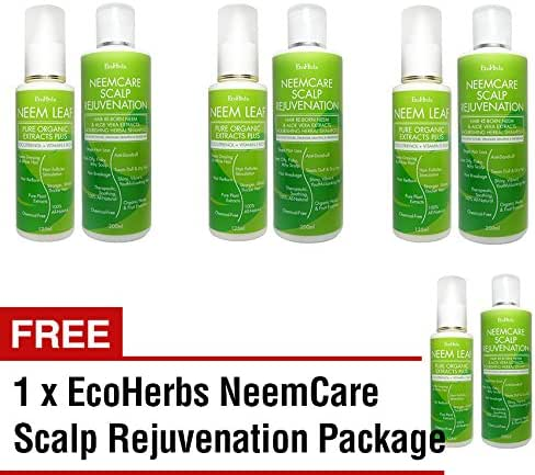 Buy 3 Free 1 EcoHerbs Neemcare Organics Scalp Rejuvenation Package For Treating Premature White/Gray/Graying Hair & Dull, Dry, Rough Hair, Beginning Stage Of Hair Loss Plus Neem Shampoo- Green