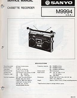 service manual for sanyo m9994 cassette recorder sanyo electric inc rh amazon com Western Golf Carts Parts Manual Electric Golf Cart Repair Manual