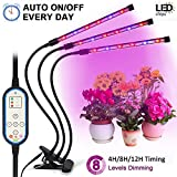Tankuy Cycle Timing Grow Light, Auto On/off Everyday (4H/8H/12H) 8 Levels Plant Lamp with 360 Degree Adjustable Gooseneck for Indoor Plants Small Tent Potted Hydroponic Garden Greenhouse