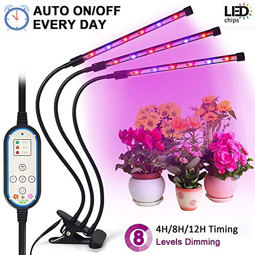 Tankuy Cycle Timing Grow Light, Auto On/off Everyday (4H/8H/12H) 8 Levels Plant Lamp with 360 Degree Adjustable Gooseneck for Indoor Plants Small Tent Potted Hydroponic Garden Greenhouse For Sale