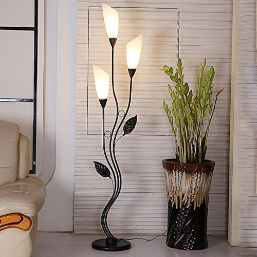 (Fashion Floor Lamp Black And White 3/5 Lights Lily Lamp Living Room Bedroom Wrought Iron Decorative Table Lamp, Acrylic Lampshade, E14 (Color : BLACK, Size : 3 heads))