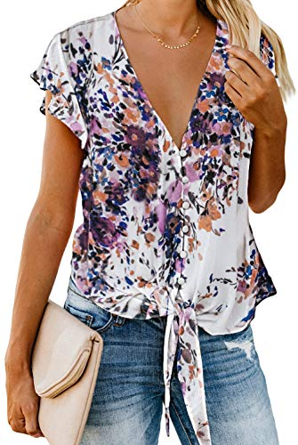 Sexy Summer Tops for Women 2019 V Neck Button Down Elegant Chiffon Shirts Tie Knot Casual Blouses Tops Floral Purple XXL