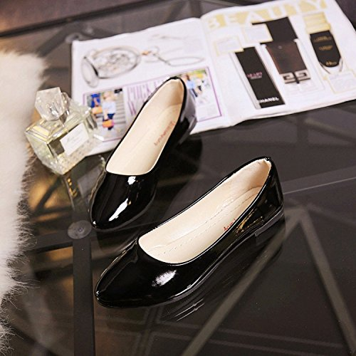 VULK Comfortable Women shoes flat bottom varnished leather shoes . B074KXMTK5 38 M EU|Black