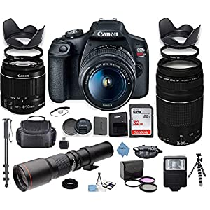 Canon EOS Rebel T7 DSLR Camera with 18-55mm is II Lens Bundle + Canon EF 75-300mm f/4-5.6 III Lens and 500mm Preset Lens…
