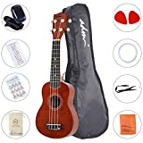 "ADM Ukulele 21"" Soprano Wood Economic Starter Pack with Gig bag, Tuner, Fingerboard Sticker, Chord card, Brown"