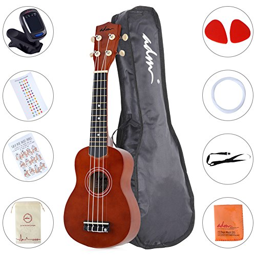 ADM Ukulele 21' Soprano Wood Economic Starter Pack with Gig bag, Tuner, Fingerboard Sticker, Chord card, Brown