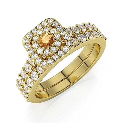 Or jaune 18carats 0,10ct G-H/VS sertie de diamants ronds Cut Citrine et mariée Bague de fiançailles et ensemble de Agdr-1246