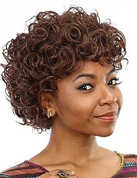 resistentes al calor peluca de pelo falso corto pelucas sintéticas rizadas marrones económicas para las mujeres