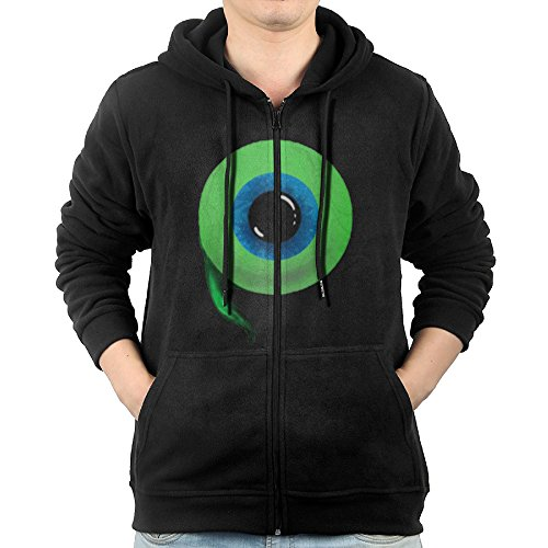 Sunruke Hoodie Sweatshirt Men's JackSepticEye Logo Long Sleeve Zip-up Hooded Sweatshirt Jacket Black ()
