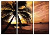 Picture Sensations Framed Huge 3-Panel Palm Tree Sunset Beach Hawaii Giclee Canvas Art