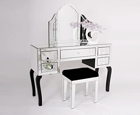 COMPLETE VENETIAN MIRRORED GLASS DRESSING TABLE SET WITH MIRROR ...