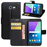 Galaxy J3 2017 Case, Galaxy J3 Emerge Case, Fettion Premium PU Leather Wallet Flip Phone Protective Case Cover for Samsung Galaxy J3 (2017) / J3 Emerge Smartphone (Wallet - Black)