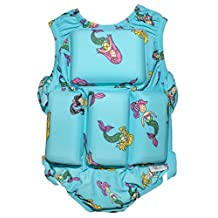 Girls Floating Bathing Suit Flotation Swimsuit X-small, Small, Medium, Large Avaliable in Palm Tree,Sunglasses & Tie Dye Patterns (X-Small, Mermaid)