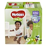 Branded HUGGIES Little Movers Slip-On Diaper Pants, Size 6, 74 Diapers , Weight 35lbs - Branded Diapers with fast delivery (Soft and Comfortable for Babies)