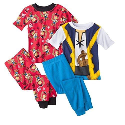 Disney Jake the Pirate Boys 4-piece Cotton Pajama Set, Toddler Sizes 2t-5t (4T)