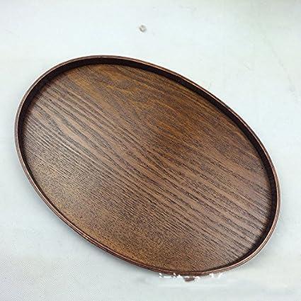 Super KD de madera decorativa bandeja para servir ovalado Otomano servir bandeja para alimentos café o