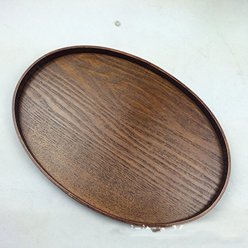Tray Oval Decorative - Super KD Wooden Serving Tray Decorative Oval Tray Serve for Food Coffee or Tea (39X25X2.5CM)