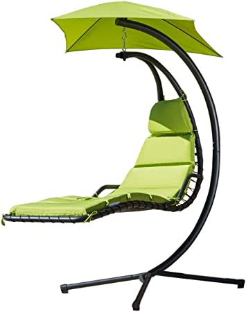 Amazon Com Christopher Knight Home La Vida Steel Hanging Chair With Cushion Green Garden Outdoor