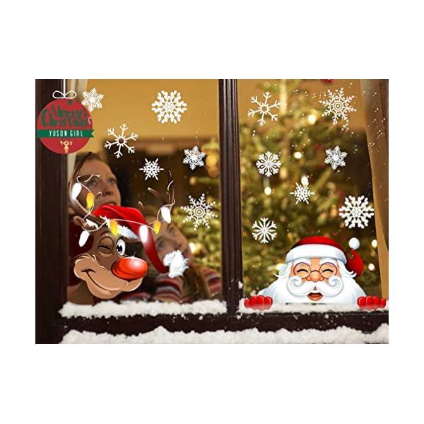Yuson Girl Natale Addobbi Adesivi Decorazione Per Finestre Vetri-Autoadesive Smontabile Adesivo Fiocco di Neve Natale Porta Finestra Sticker Murale Decal per il Negozio al Dettaglio 1 spesavip