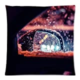 Flipped Summer Y Car Rear-View Side Mirror in Snowy Weather Decorative Custom Pillowcase Bear Pillow Cushion Cover Pillowslip Size 18''x 18''