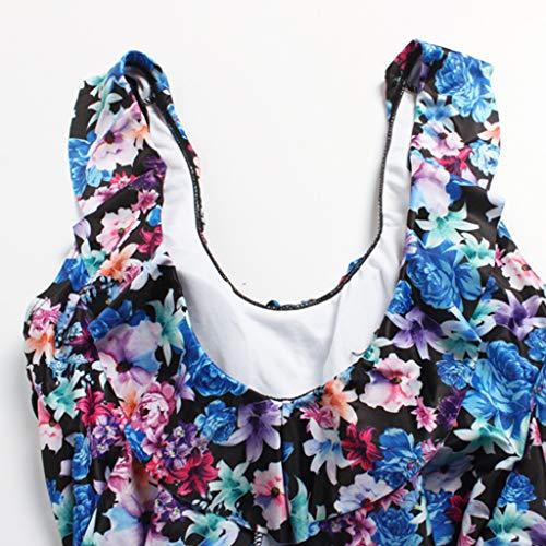 AKIMPE Women One Piece Swimsuit Floral Print Ruffled Plus Size Stap Swimwear Bathing Suit Beachwear B-Blue XXL by AKIMPE (Image #3)