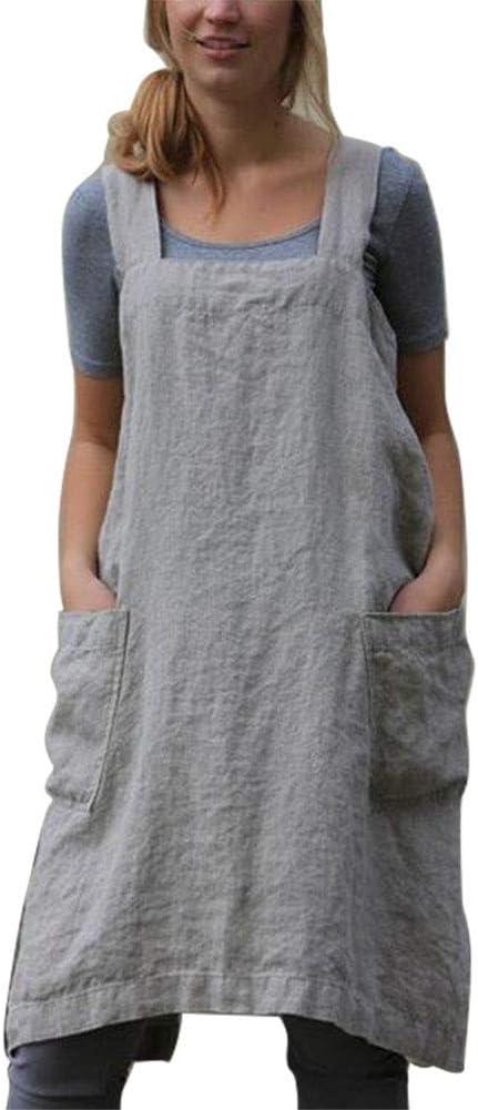 Delantales de lino de algodón de estilo japonés, vendaje cruzado de color sólido en forma de X, cocina trasera con forma de cocina (Grey, L)