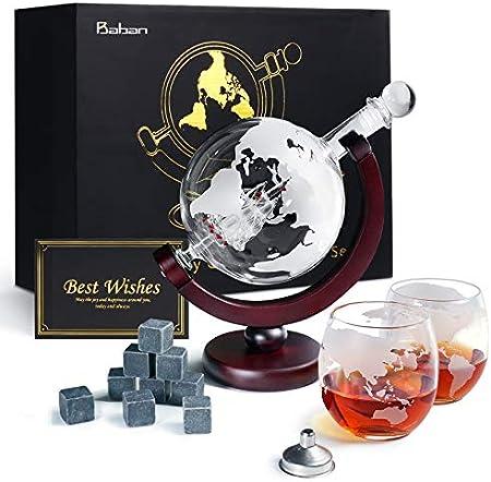 Baban Globe Decanter de Vino, con 2 Copas de Vino, 9 Piedras de Vino de Hielo, Filtro, Adecuado para Todo Tipo de Vino, Utilizado para Regalos Entre Amigos, Buenos Suministros para el hogar