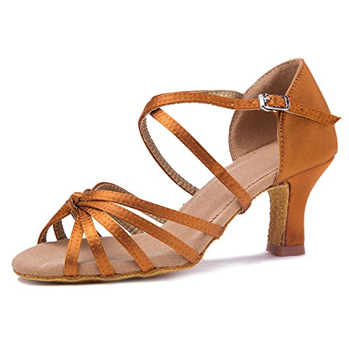 7CM Satin Ballroom Salsa Dance Performance Tango Latin Shoes Roymall Model 1 WZJCL Shoes Brown Women's axwq5XY7