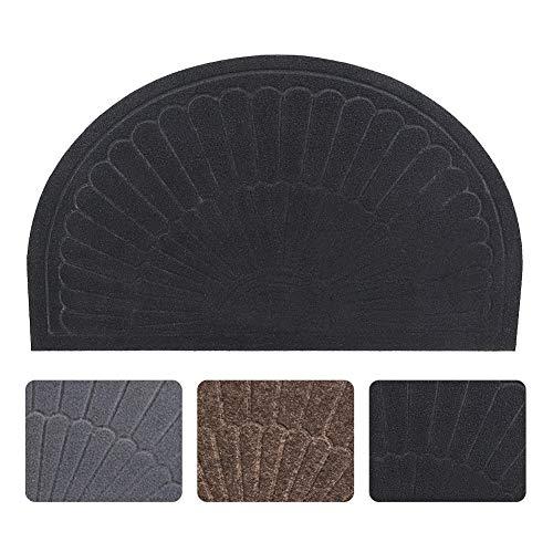 (Half Round Door Mat Entrance Rug Floor Mats, Waterproof Floor Mat Shoes Scraper Doormat, 18''x30'' Patio Rug Dirt Debris Mud Trapper Out Door Mat Low Profile Washable Carpet (Black) )