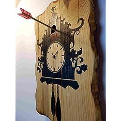 Cuckoo Murder Case wall clock | Wooden wall clock of a unique concept | Halloween handmade wood clock