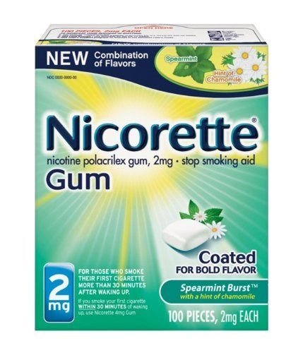 Nicorette Spearmint Burst with Chamomile Flavor Nicotine Stop Smoking OTC Gum 2 mg - 100 Count