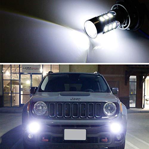 iJDMTOY (2) 6500K White LED Daytime Running Light Bulbs For 2015-2018 Jeep Renegade