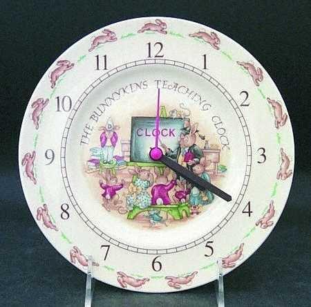 Royal Doulton Bunnykins (Albion Shape) Teaching Clock Plate, Fine China Dinnerware