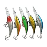 Muzata Fishing Lure, Hard Bait, Topwater Floating Popper, 0.5Oz- 5.3 Inch-5Pack
