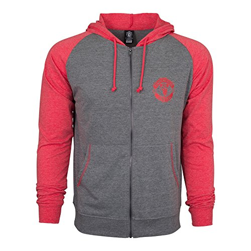 Manchester United Fc Hoody (Manchester United Hoodie Fz Summer Light Zip up Jacket Grey-red Youth Kids (YM))