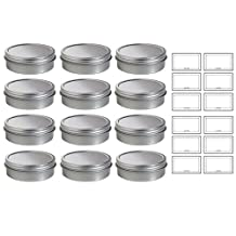 2 oz Metal Steel Tin Flat Container with Tight Sealed Twist Screwtop Cover by JUVITUS
