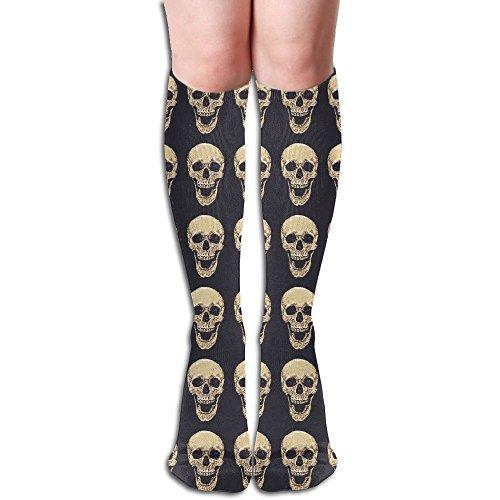 Realistic Skull Trippy Smiling Below The Knee High Socks Sports Athletic Casual (Simple Halloween Mask Tutorial)