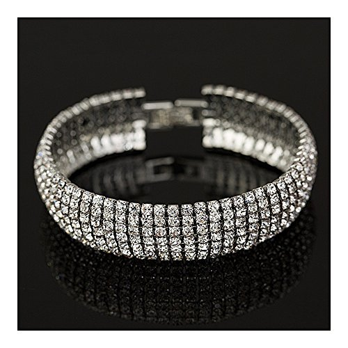 Extra Long Fashion Statement Silver Gold Black Rhinestone Crystal Drop Earrings or Bracelet Bridal Wedding Jewelry (Silver Bracelet)