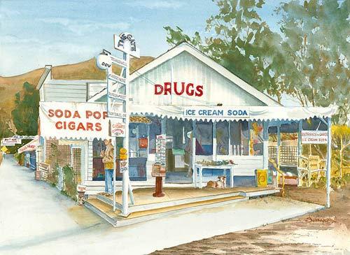 California Watercolor Fine Art Print, Rankens Drug Store, Laguna Beach, by Steve Santmyer, 21.5 x 29 inches (Stores Beach Laguna Decor Home)
