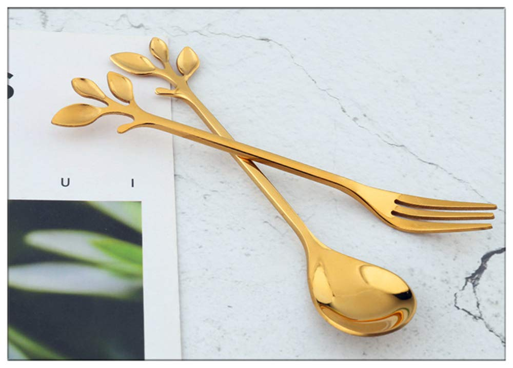Turbokey Gold Leaf Coffee Spoon Sugar Spoon Set of 4,Ice-Cream Tea Stirring Spoons 4.7 Inches Retro Dessert Demitasse Espresso Spoons Cutlery Kitchen Tableware