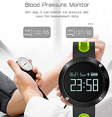 Fitness Tracker, Blood Pressure Heart Rate Monitor, IP67 Waterproof Activity Monitor Call Alert with Sleep Tracker Pedometer Watch OLED Touch Screen for iOS and Android